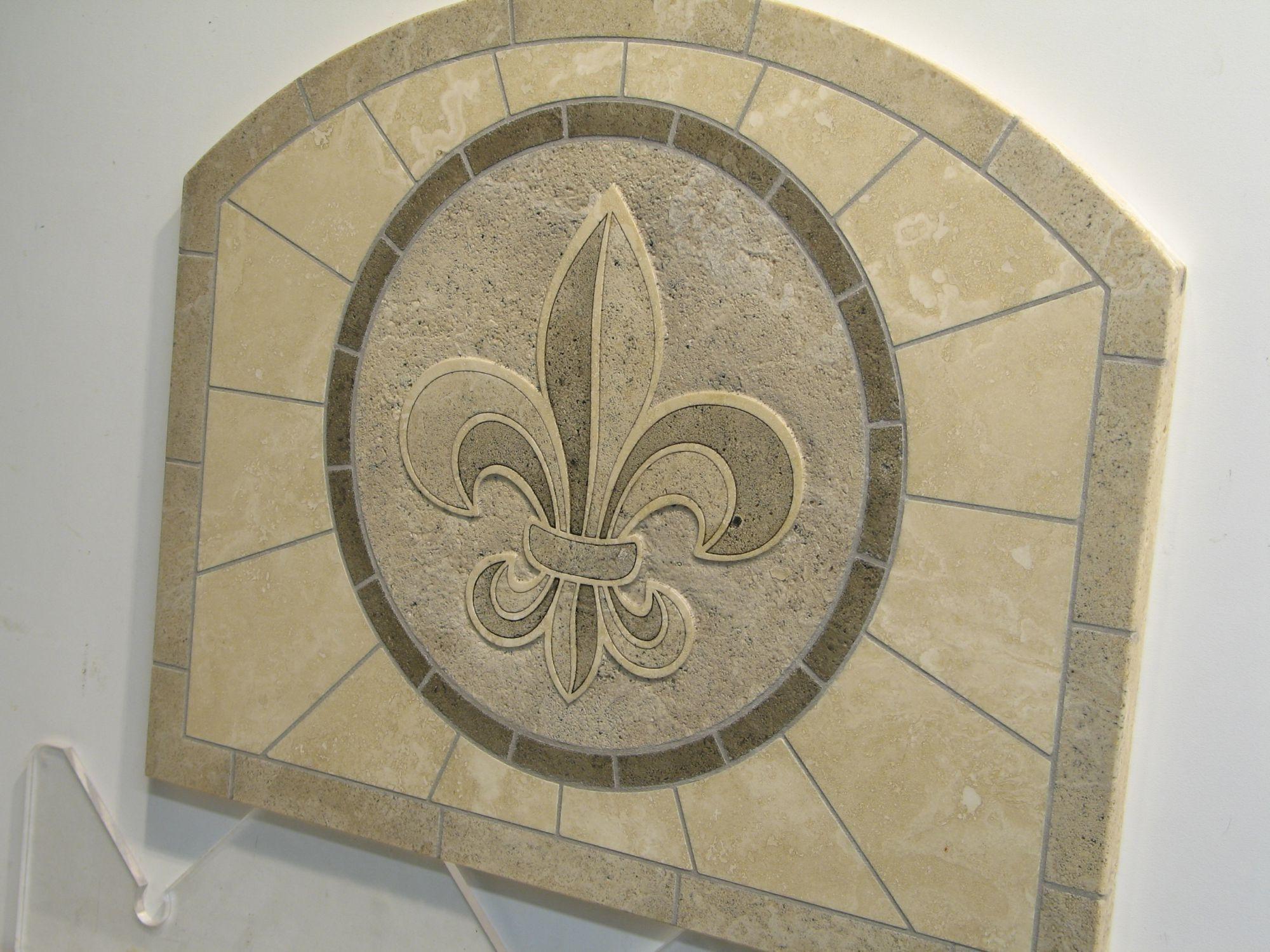 fleur de lis travertine backsplash tile