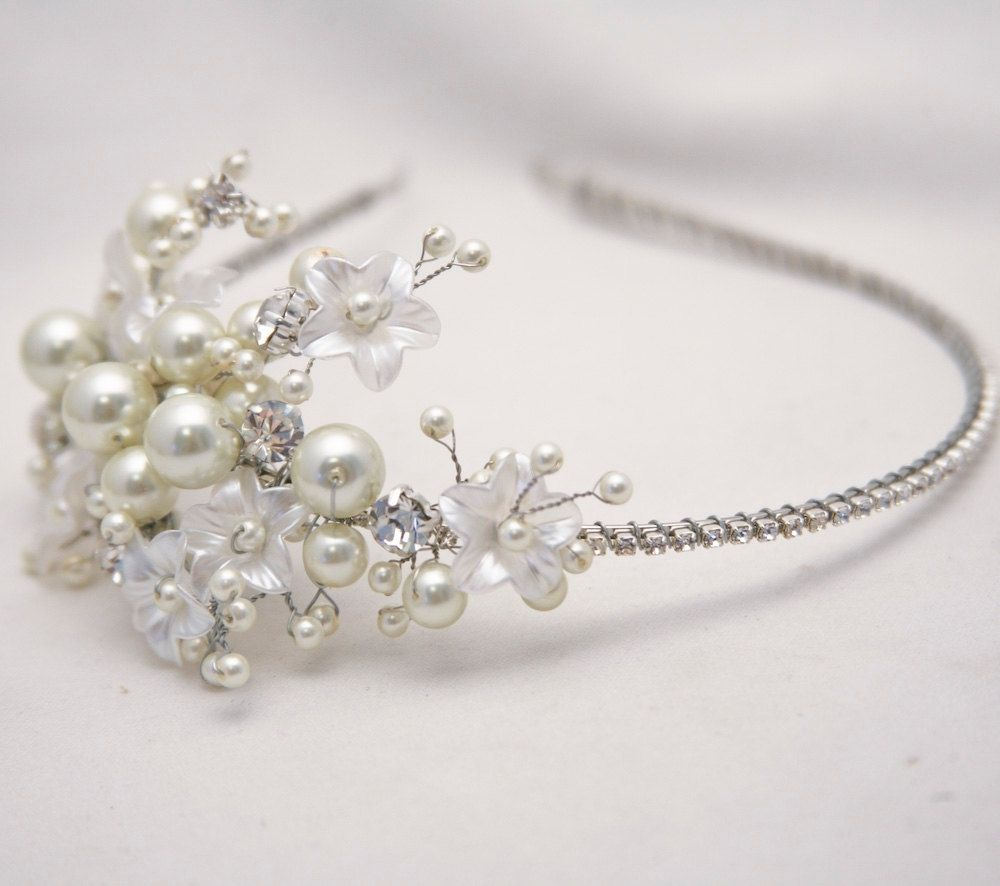 Hand Made Rhinestone Tiara With Flowers And Ivory Pearls