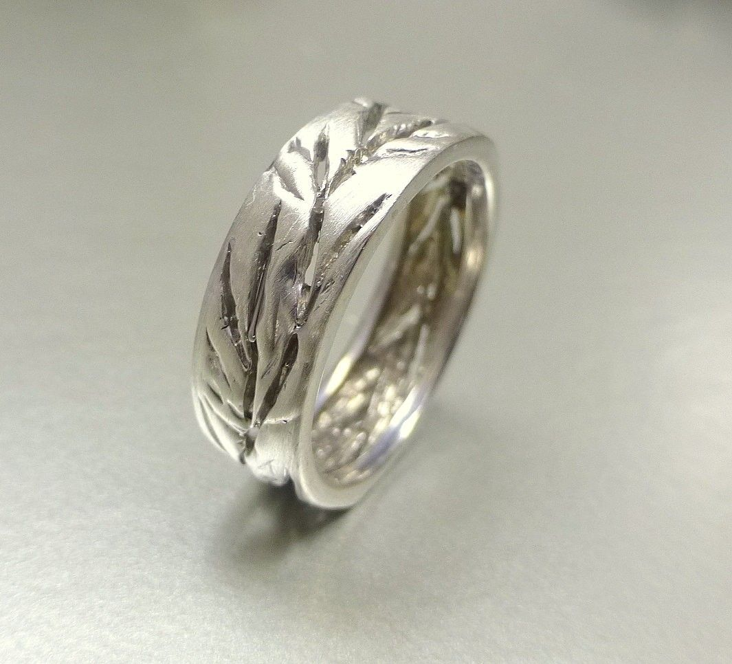 Hand Crafted Mens And Womens Wedding Band Cutout Leaf