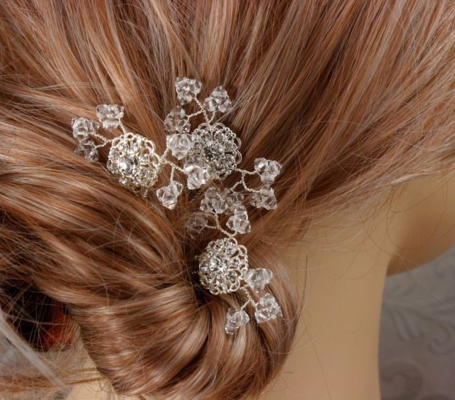 crystal baby's breath - bridal hair combs - wedding hair pins - swarovski silver filigree accents