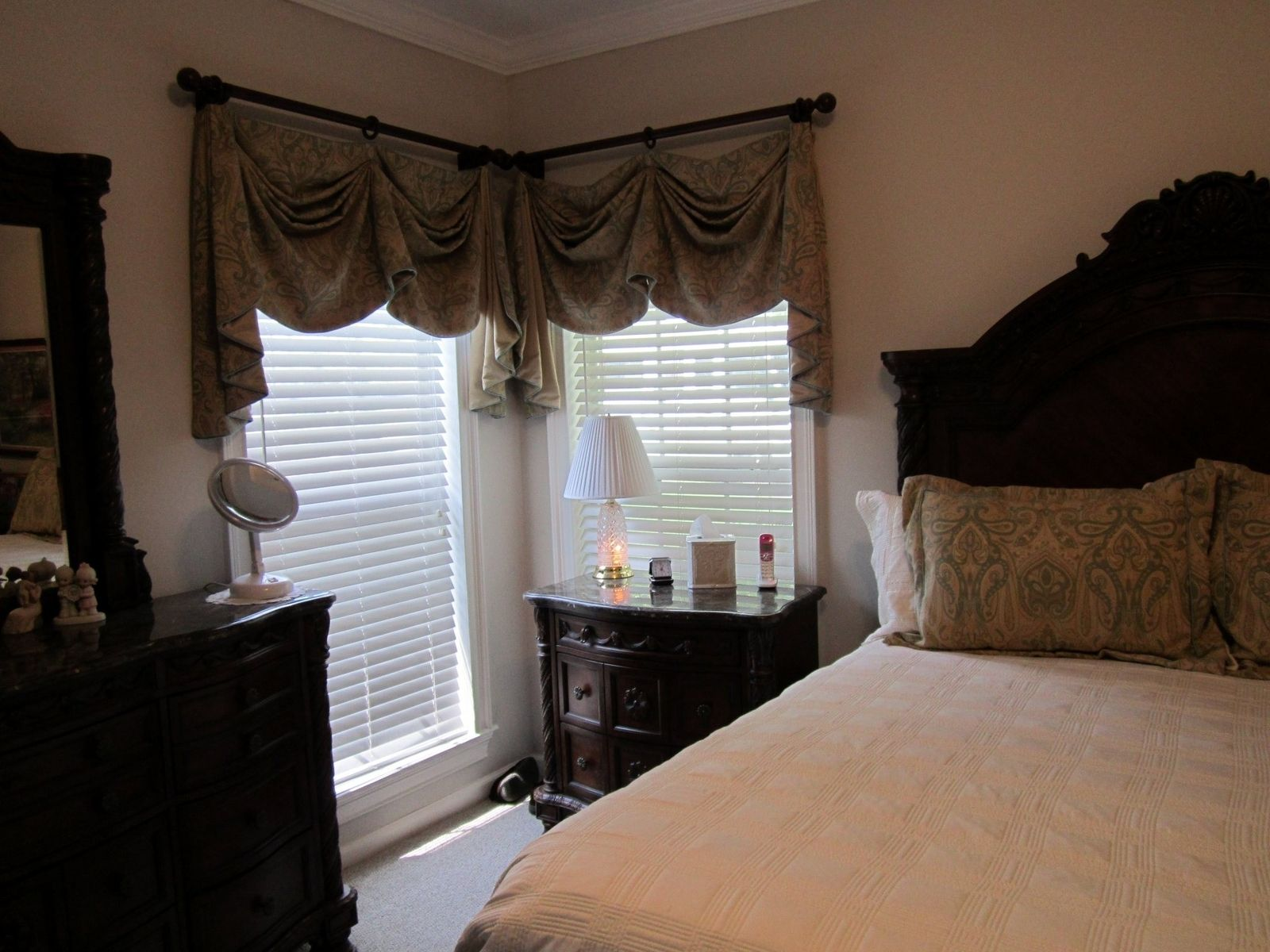 custom valances for master bedroom with matching pillow shams by
