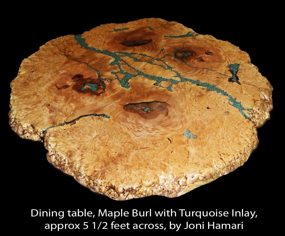 Hand Made Maple Burl Table With Turquoise Nugget Inlay By Hamari Design