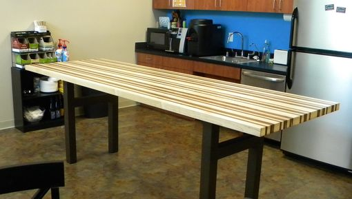 Custom Maple And Walnut Breakroom Counter Height Table By North Texas Wood Works