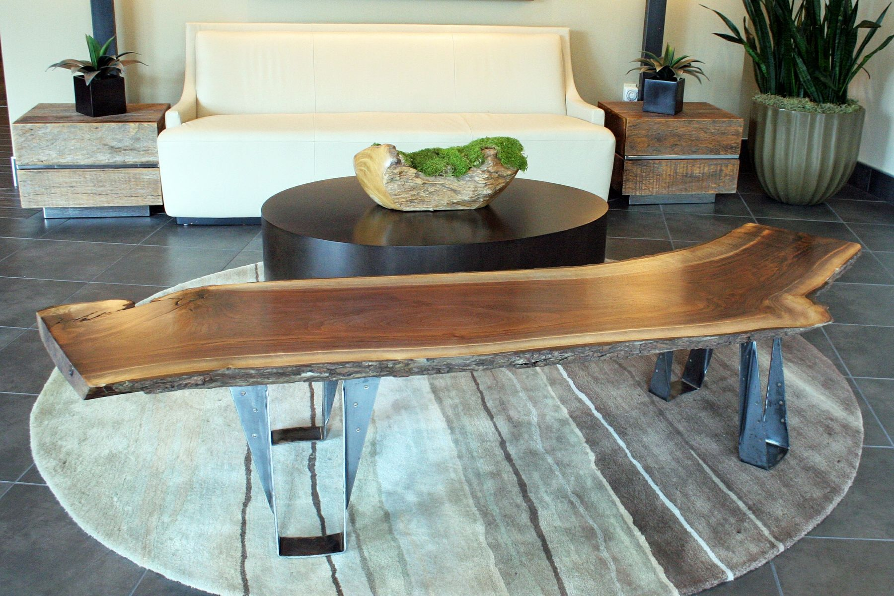 custom black walnut slab bench
