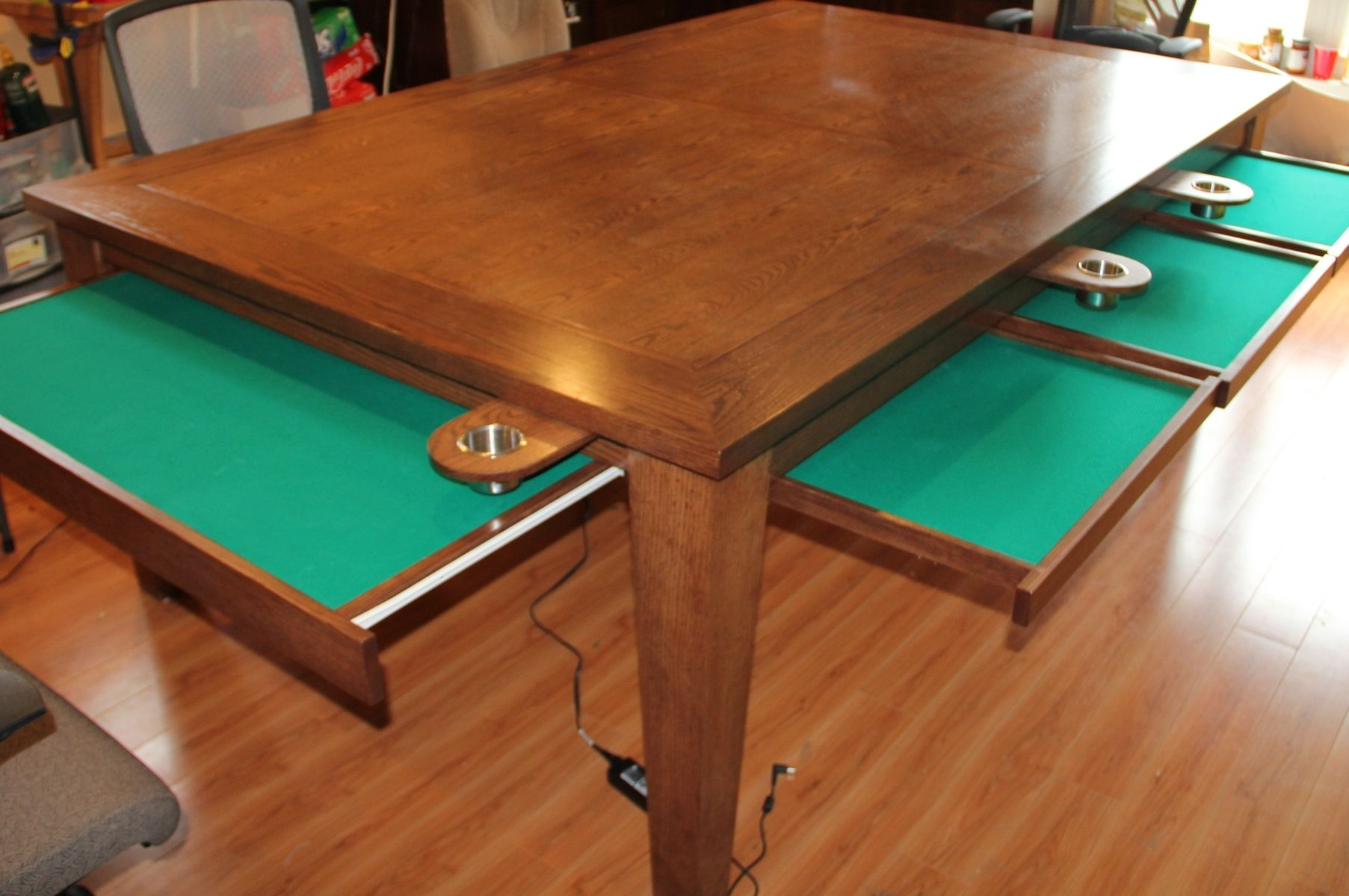 Hand Crafted Game Table W Removable Top Cup Holders