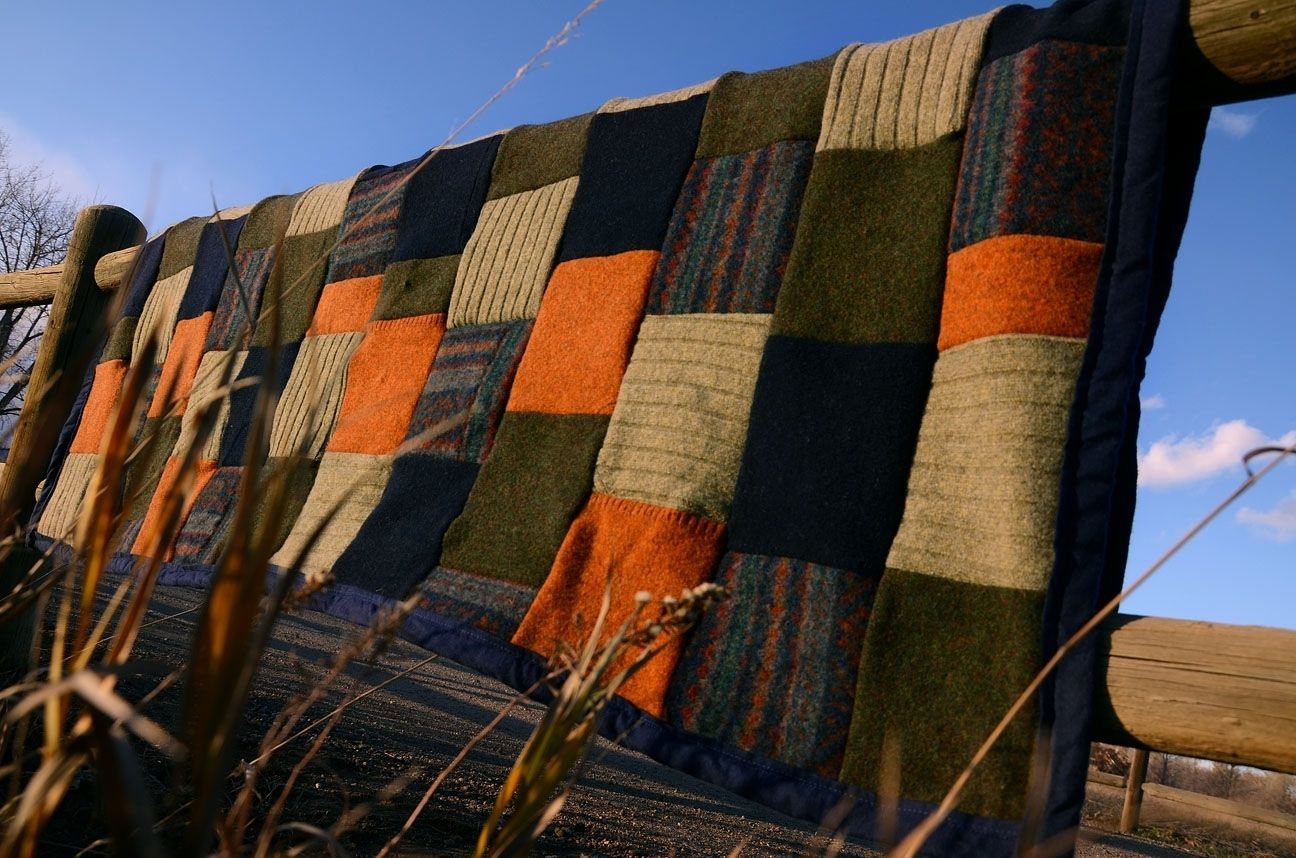 Hand Crafted Upcycled Wool Sweater Blanket By Ellalu And