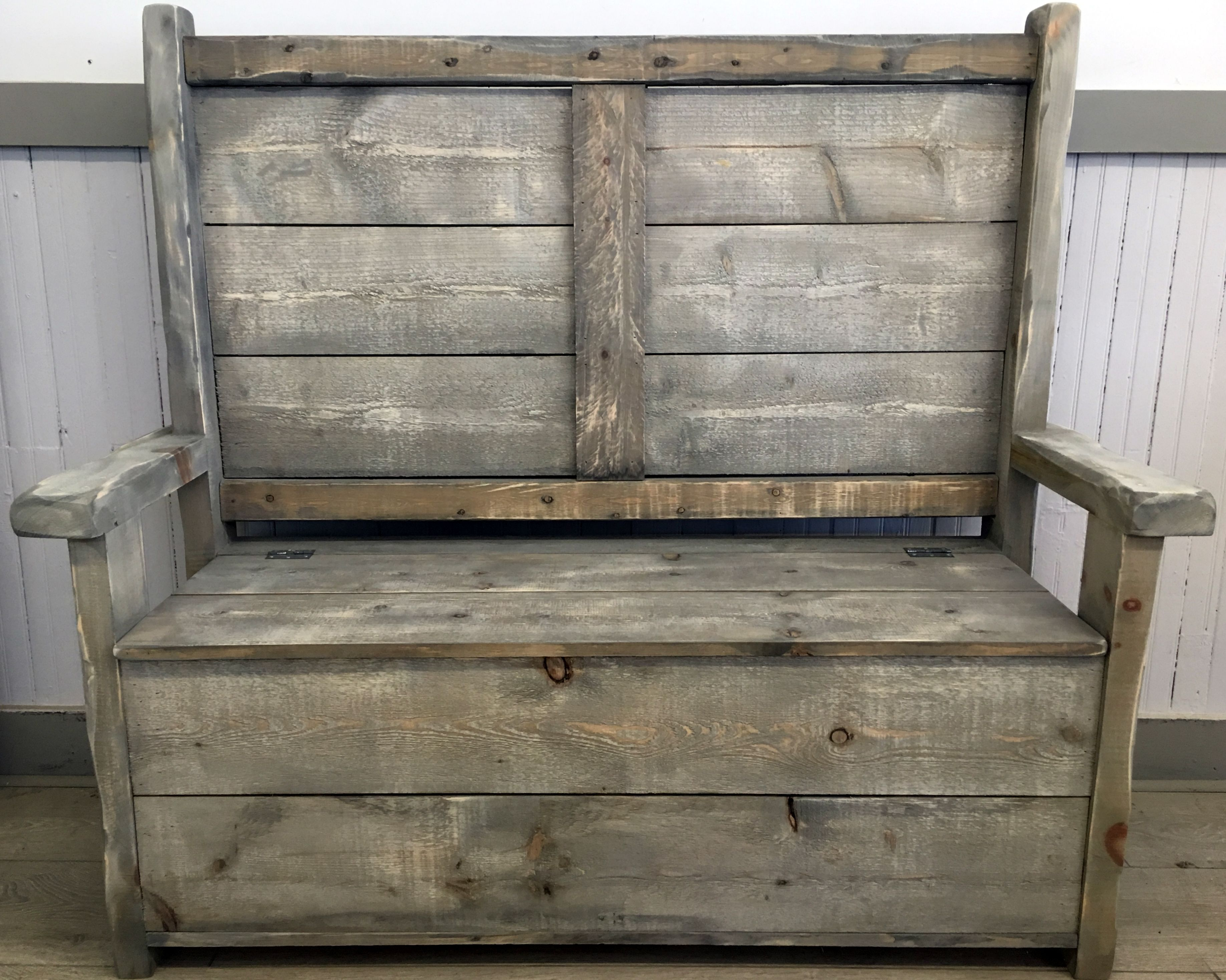 Buy A Hand Made Rustic Reclaimed Wood Bench With Storage