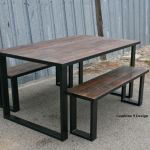 Hand Crafted Reclaimed Wood Dining Set Industrial Steel Rustic Farmhouse Table Bench Benches By Combine 9 Custommade Com