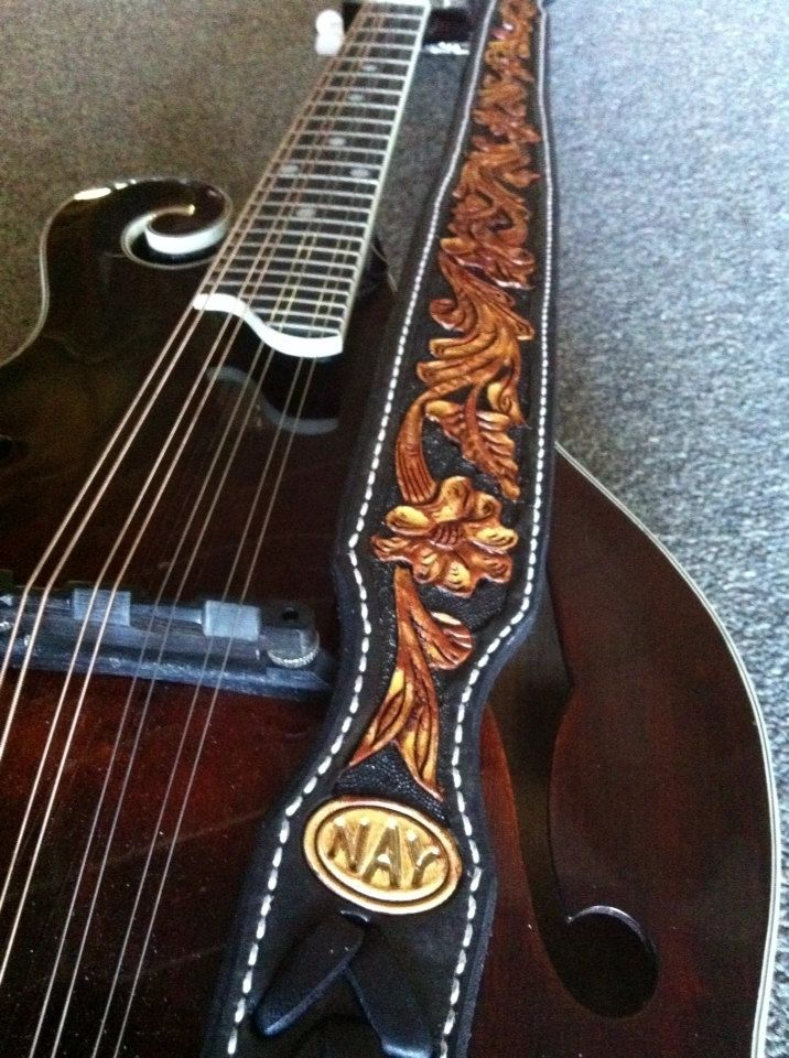 Hand Crafted Mandolin Strap Custom Floral Carved F Style