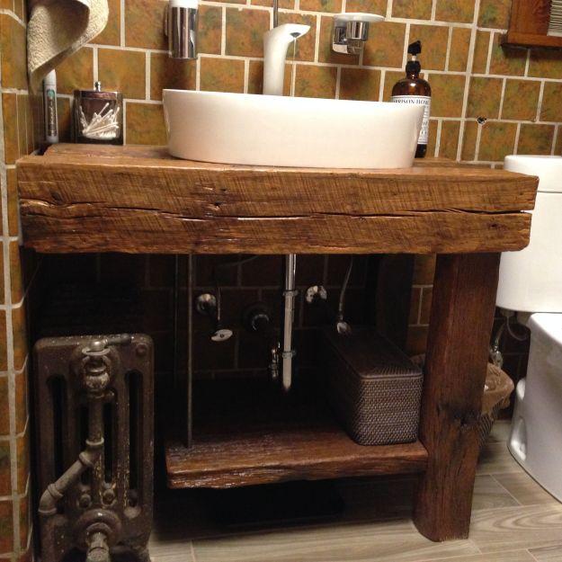 hand crafted rustic bath vanity - reclaimed barnwoodintelligent