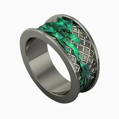 Buy A Hand Made Exotic 14kt White Gold Green Dragon Ring