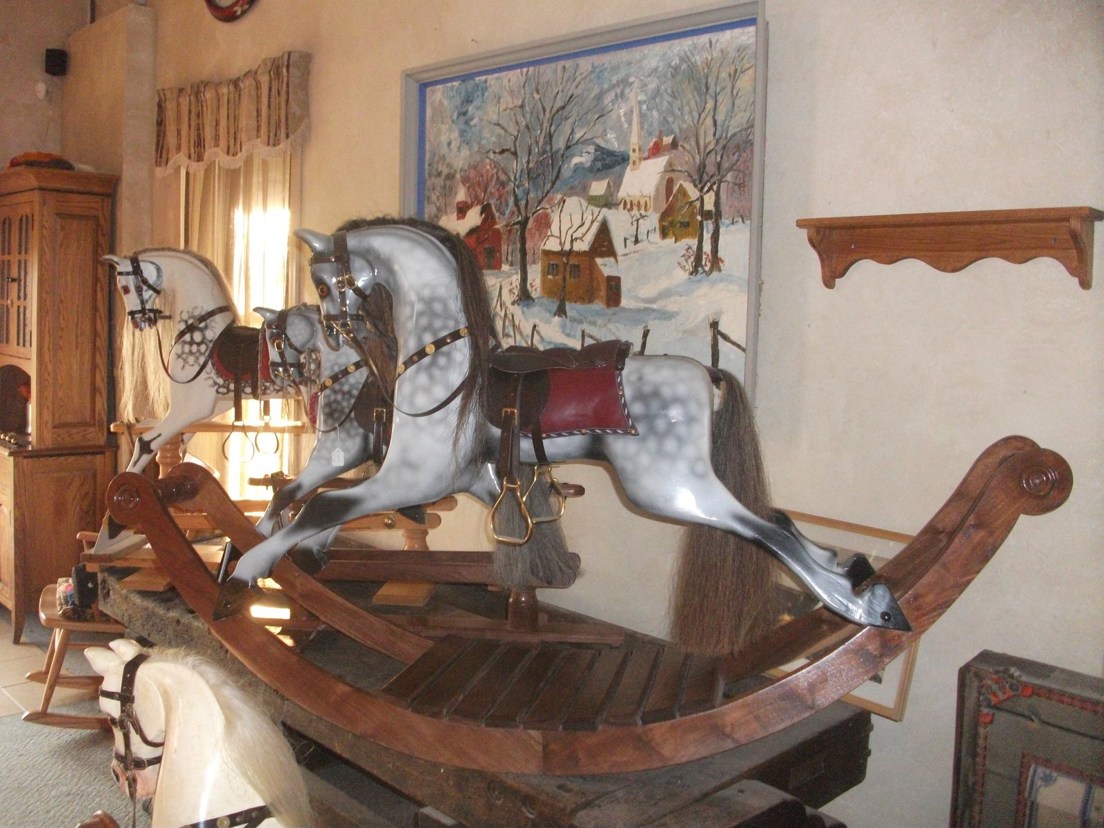 Handmade Hand Carved Victorian Rocking Horse By Greenfield