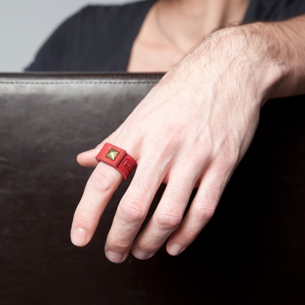 Custom Red Leather Ring With Brass Pyramid Spike Rivet By