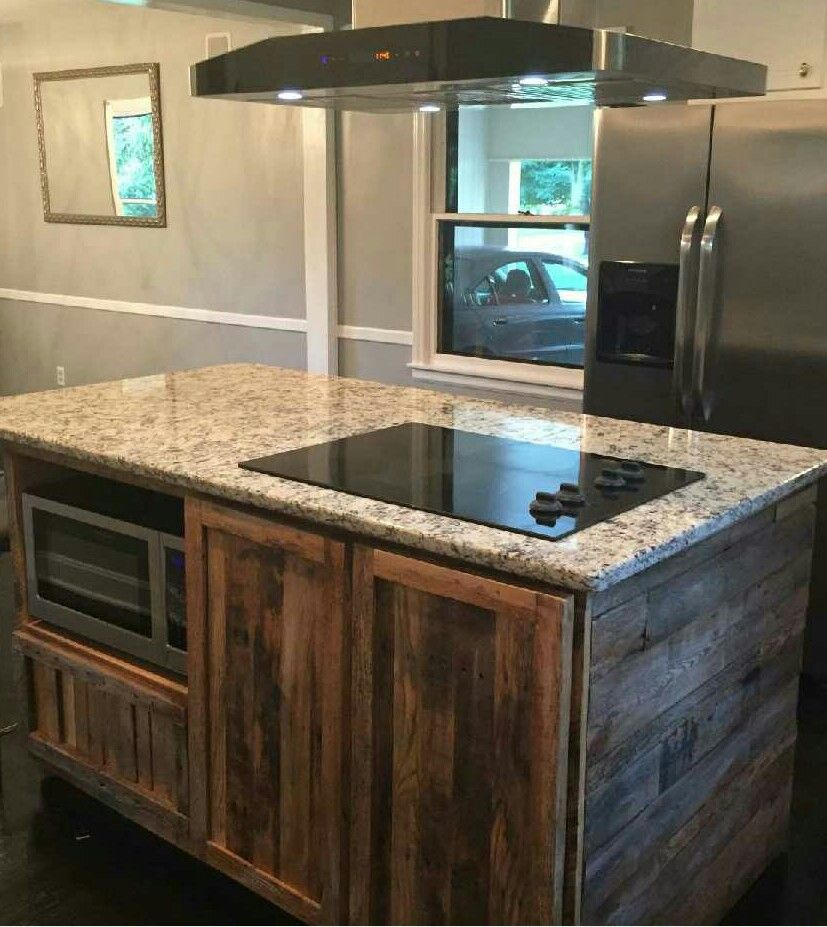 Hand Made Reclaimed Barnwood Kitchen Island By WMWW