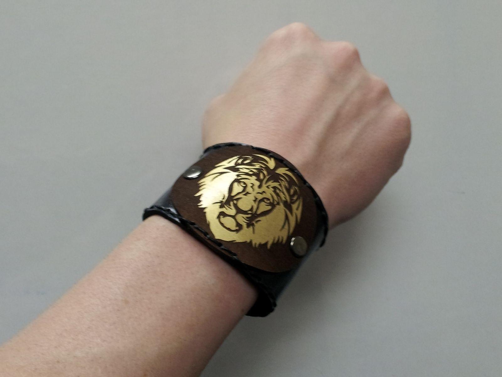 Custom Laser Cut Leather Wrist Cuff By Just Graphics Inc