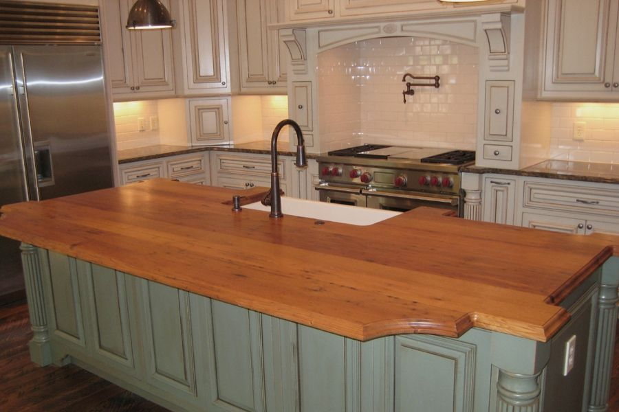 Custom Made Wormy Chestnut Island Top By Craft Art Direct