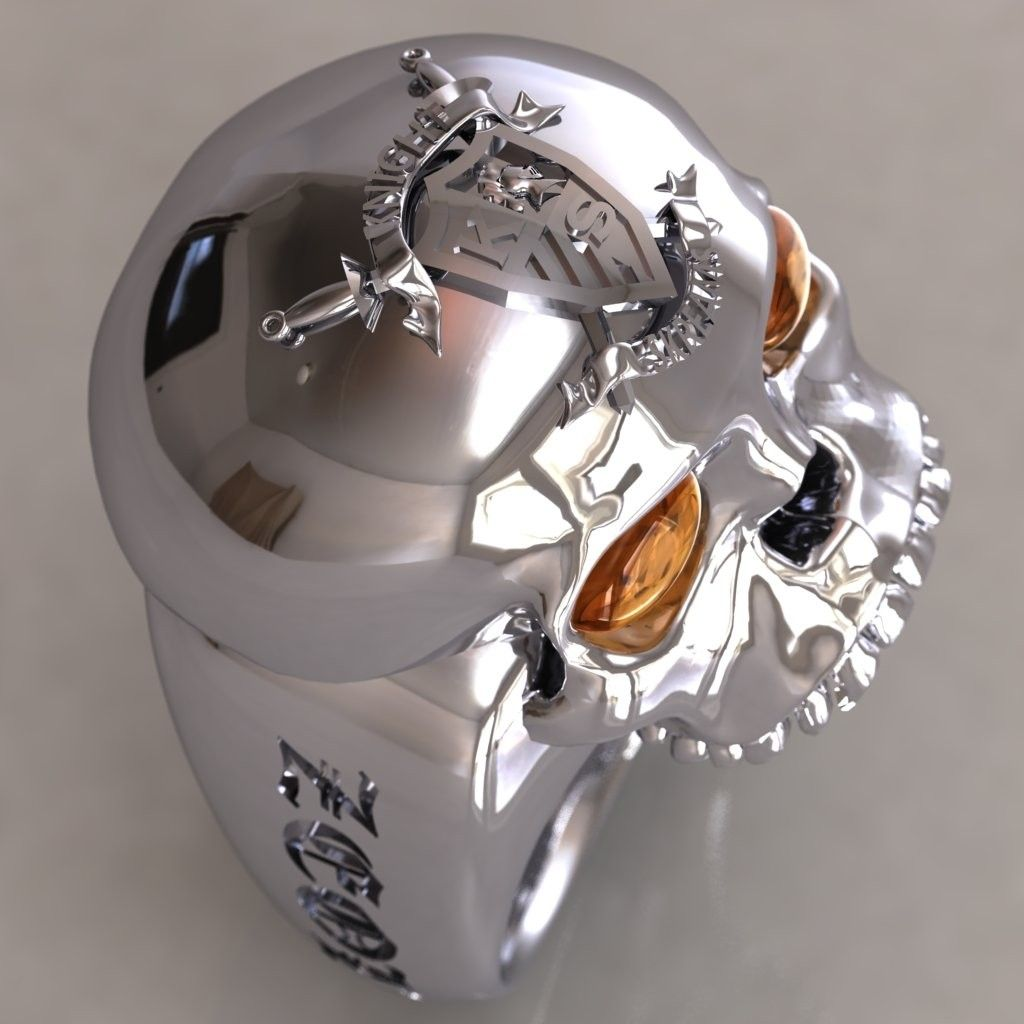 Hand Made Sterling Skull Ring With Sapphire By Dhexed