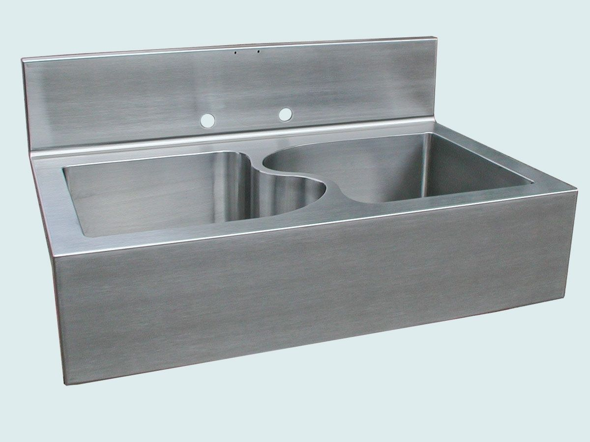 stainless sink with s divider apron