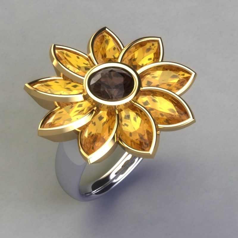 Custom Made Sunflower Ring By Paul Michael Design