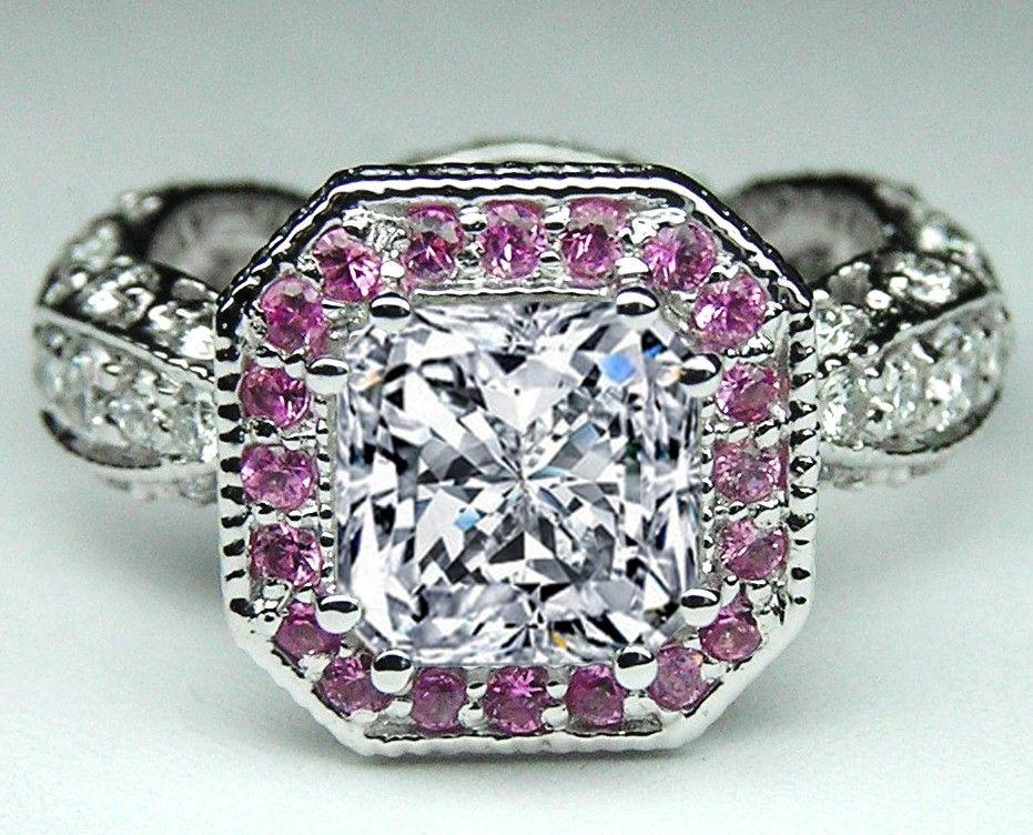 Custom Radiant Diamond And Pink Sapphire Halo Engagement