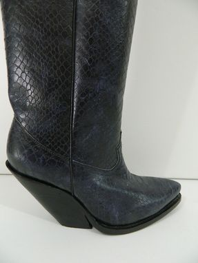 Hand Crafted Black Distressed Python Leather Cowboy Boots