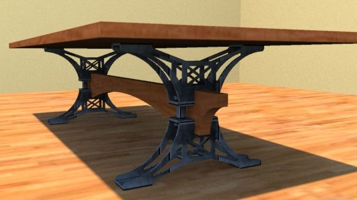 Custom Made Steel Trestle Conference Table By Puddle Town