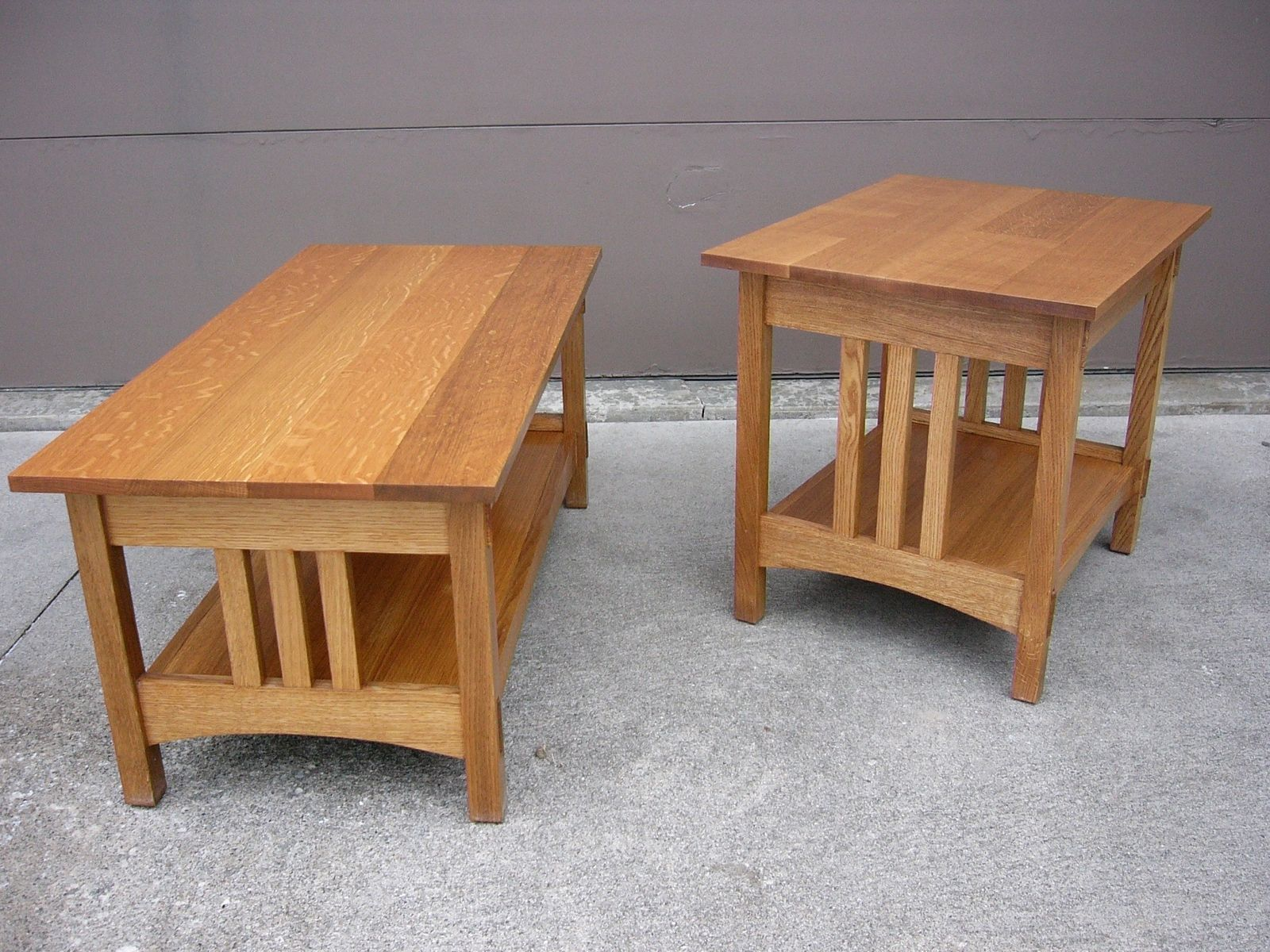 Handmade Quartersawn Oak Mission Style Coffee Table And End