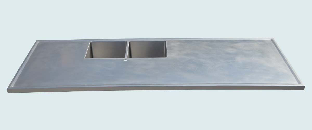 Custom Stainless Countertop With 2 Sinks & Marine Edge By