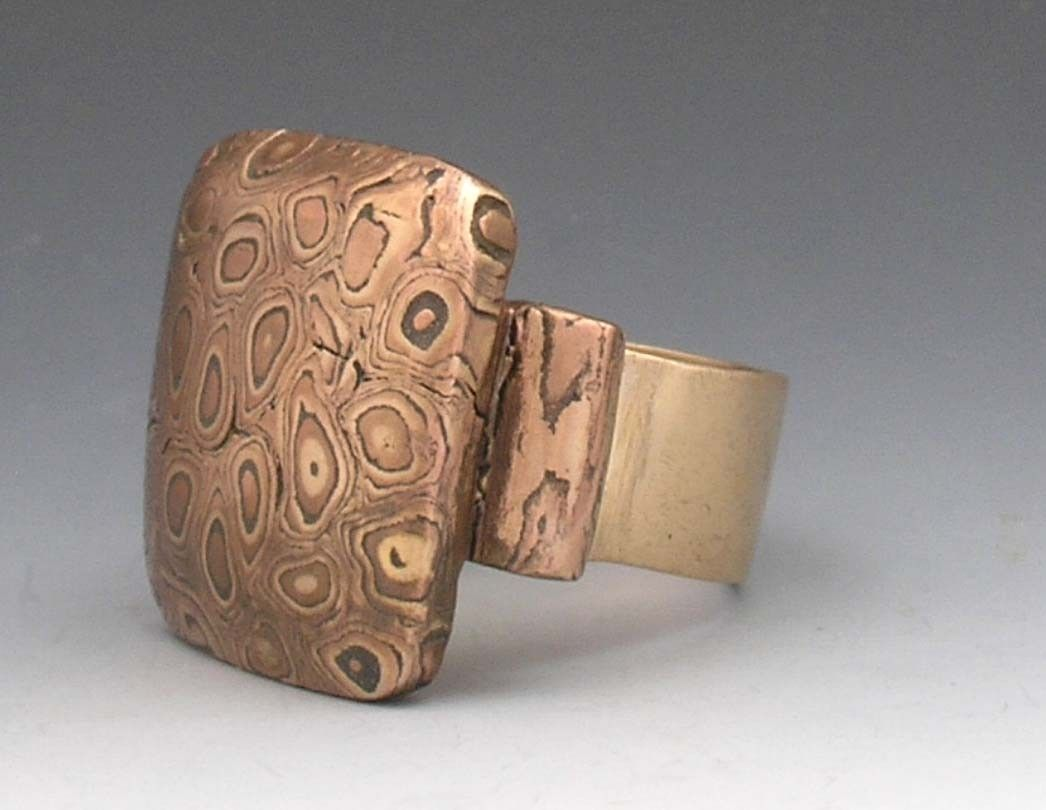Hand Made Ring Mokume Gane Metal Clay By Eclectique