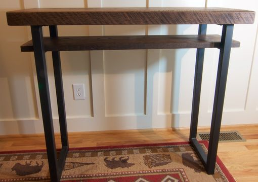Custom Made Reclaimed Wood Sofa Table Rustic Tall Oak Entry Way Table By Blowing Rock