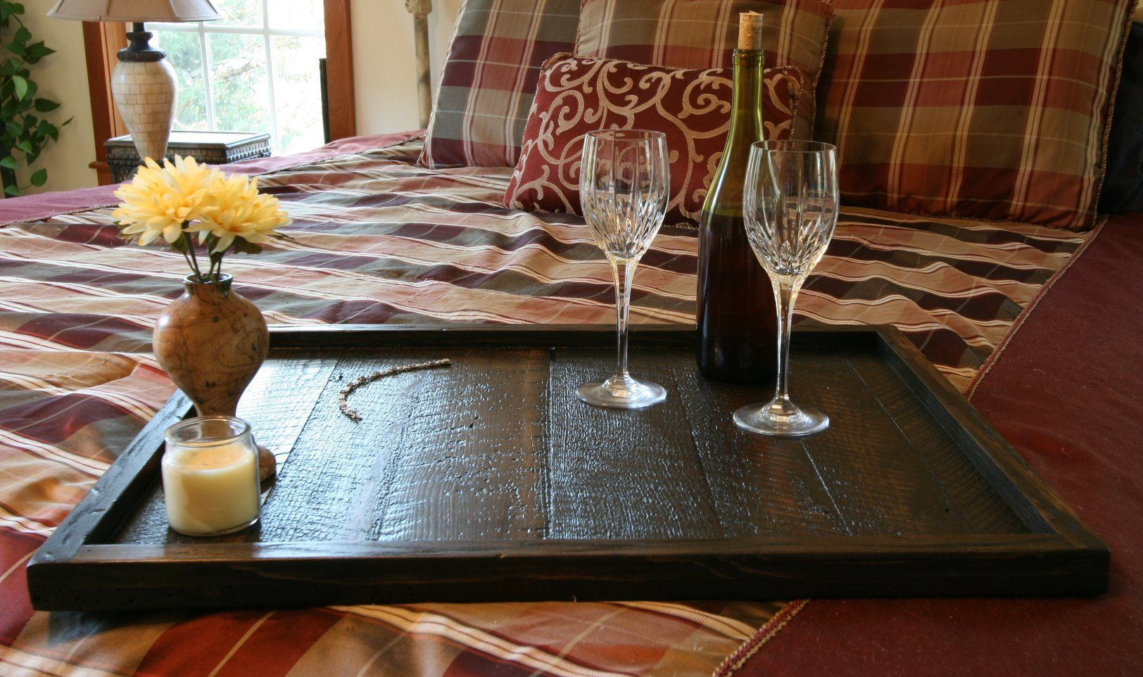 distressed to impress modern rustic oversized ottoman tray table top serving breakfast tray