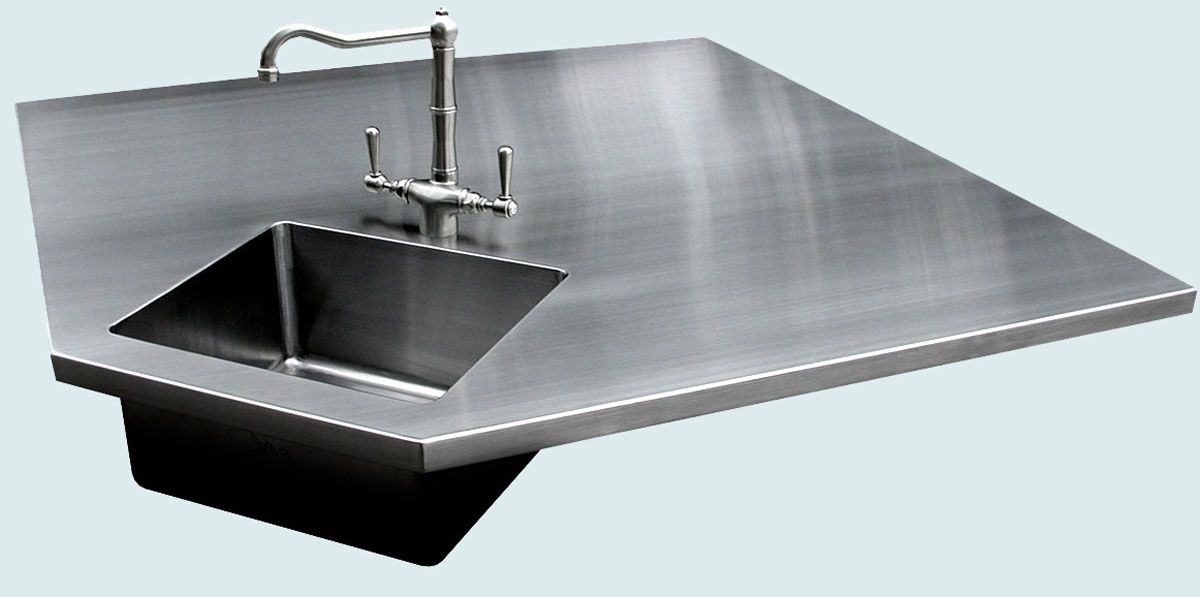 Custom Stainless Countertop With 5 Sides & Integral Sink