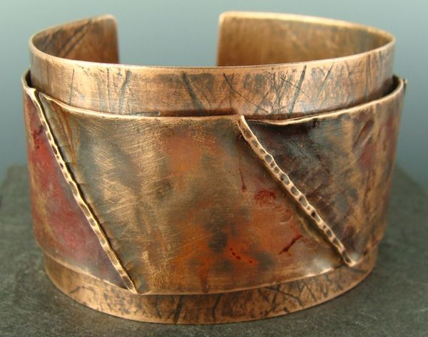 Handmade Riveted Double Layer Wide Copper Cuff Bracelet By