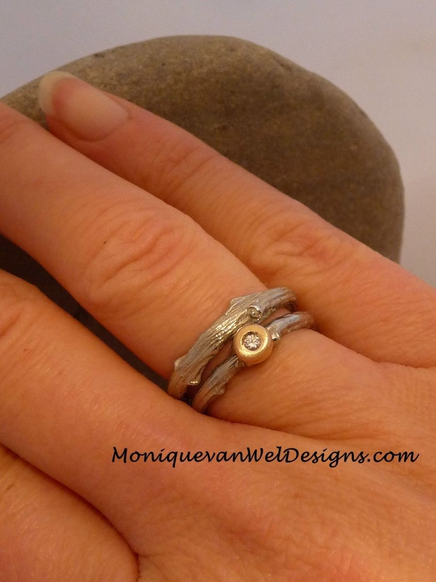 Hand Made Diamond Twig EngagementWedding Ring Set In 14k