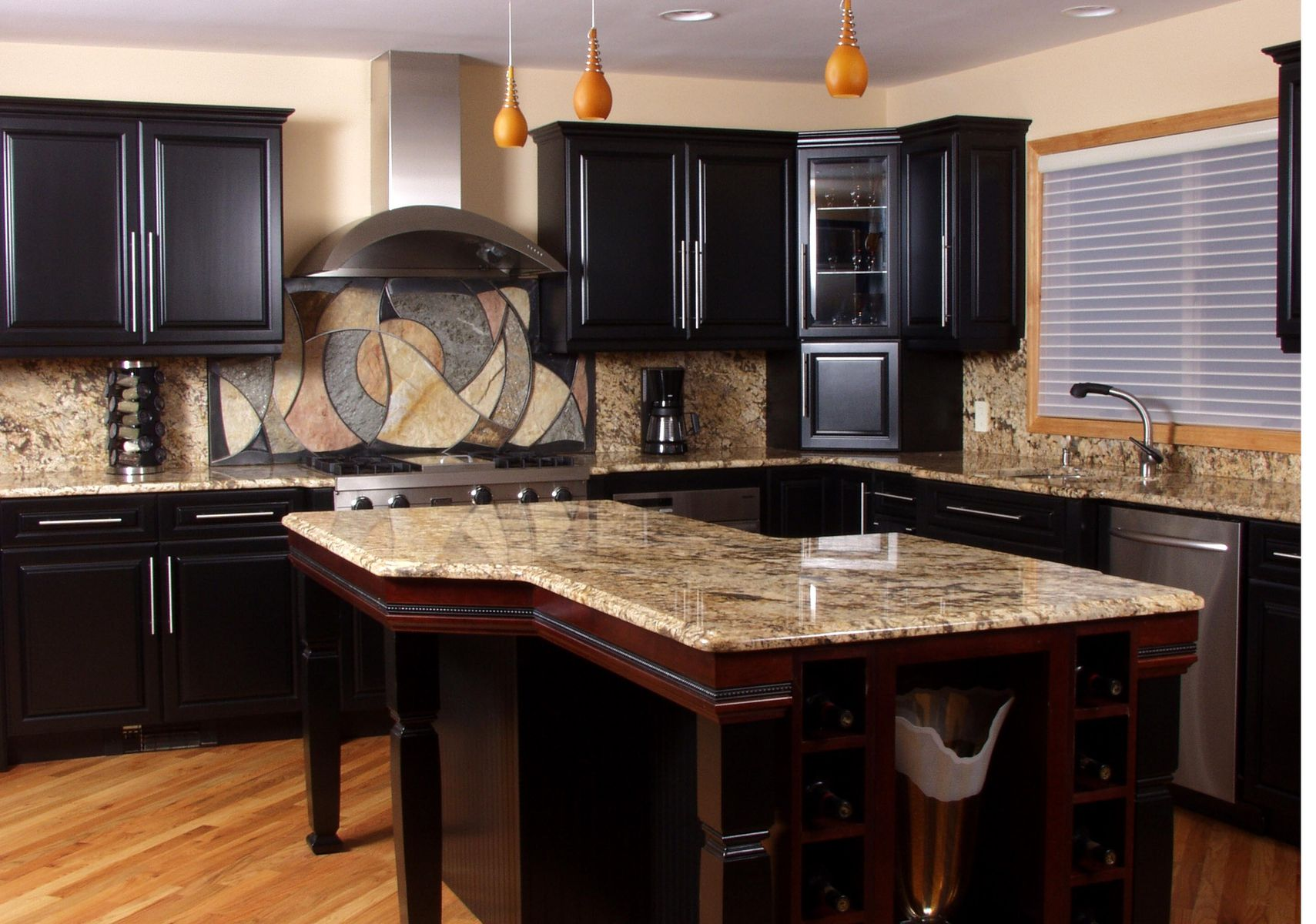 Custom Circles And Waves Backsplash By Eric David Laxman
