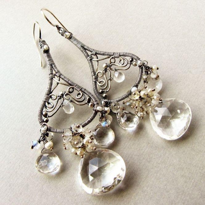 Custom Made Large Chandelier Earrings Sterling Silver Wedding