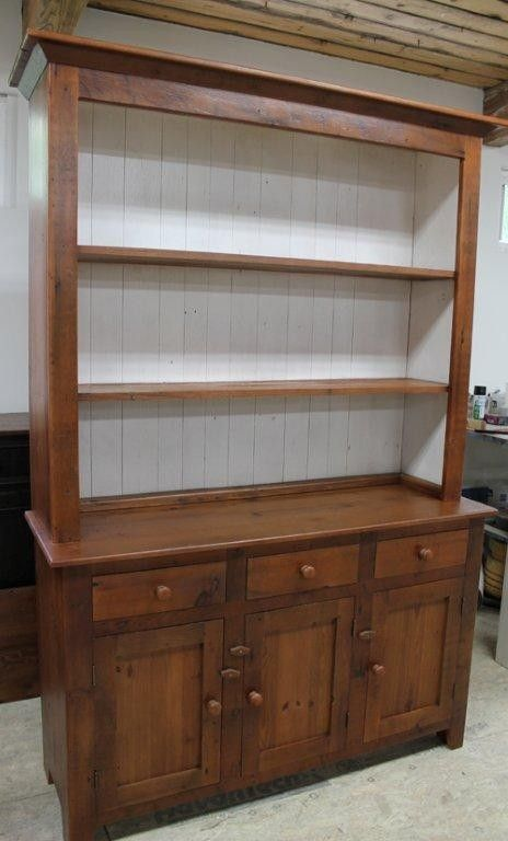 Hand Made Rustic Barn Wood Hutch With White Interior For Nantucket Home By ECustomFinishes