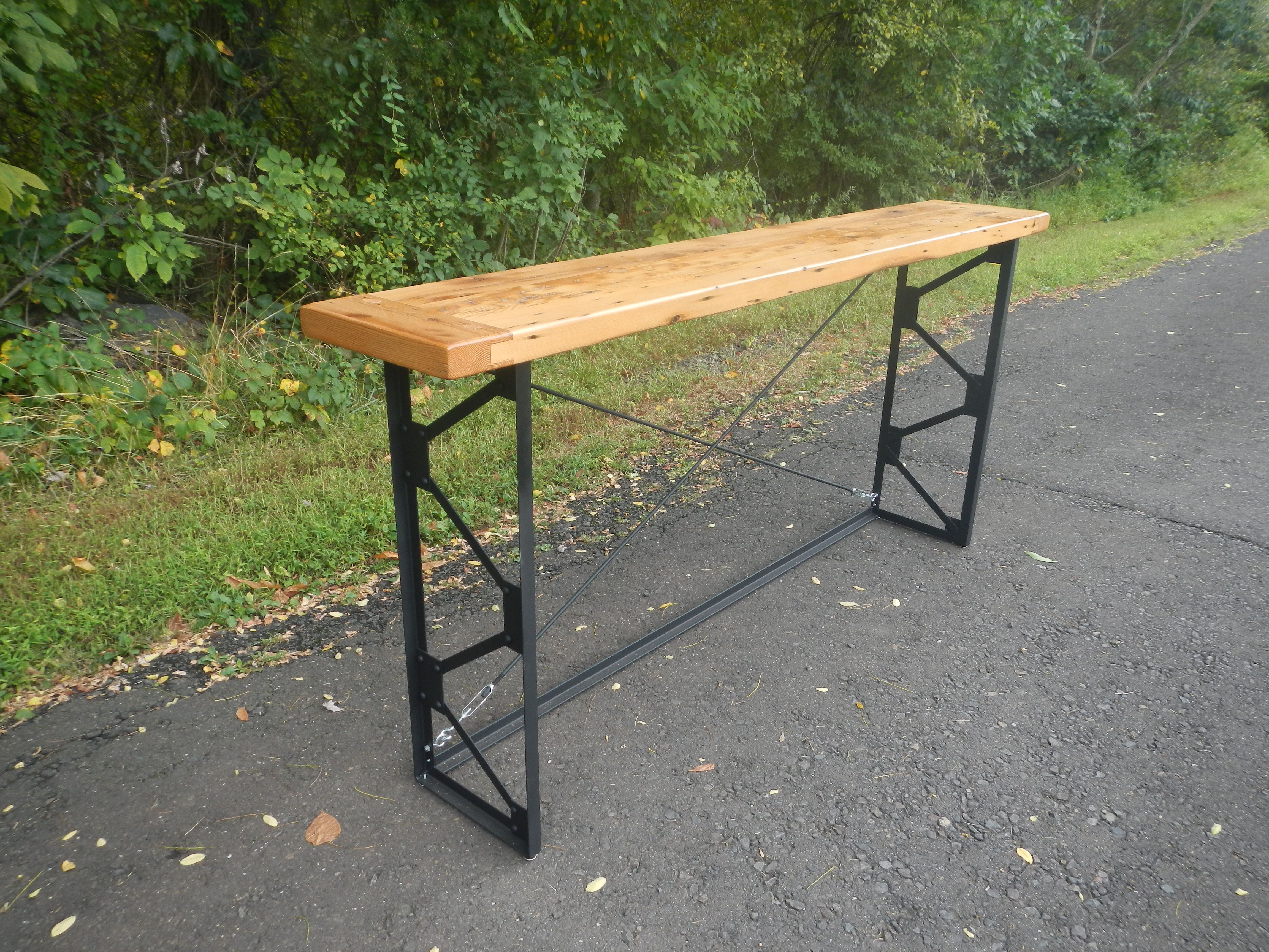 Hand Crafted Reclaimed Wood And Welded Steel Console Table
