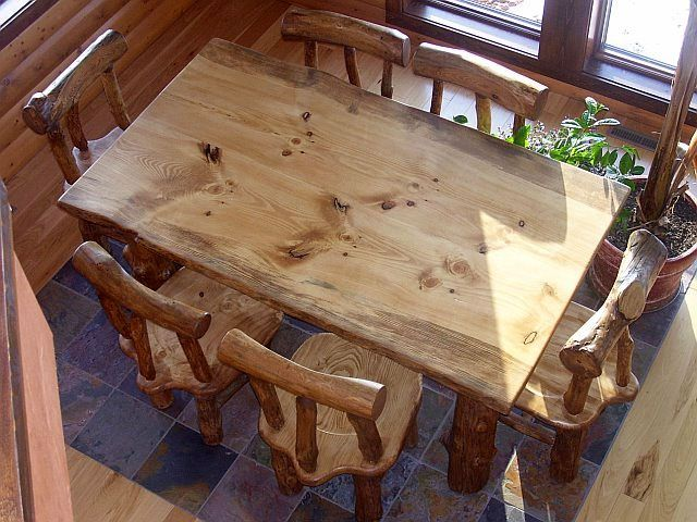 Hand Made Rustic Pine Log Diningroom Table And Chairs By