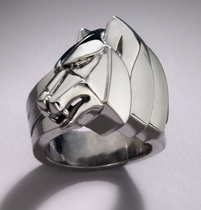 Custom Made Wolf Ring In Antiqued Sterling By Cameron