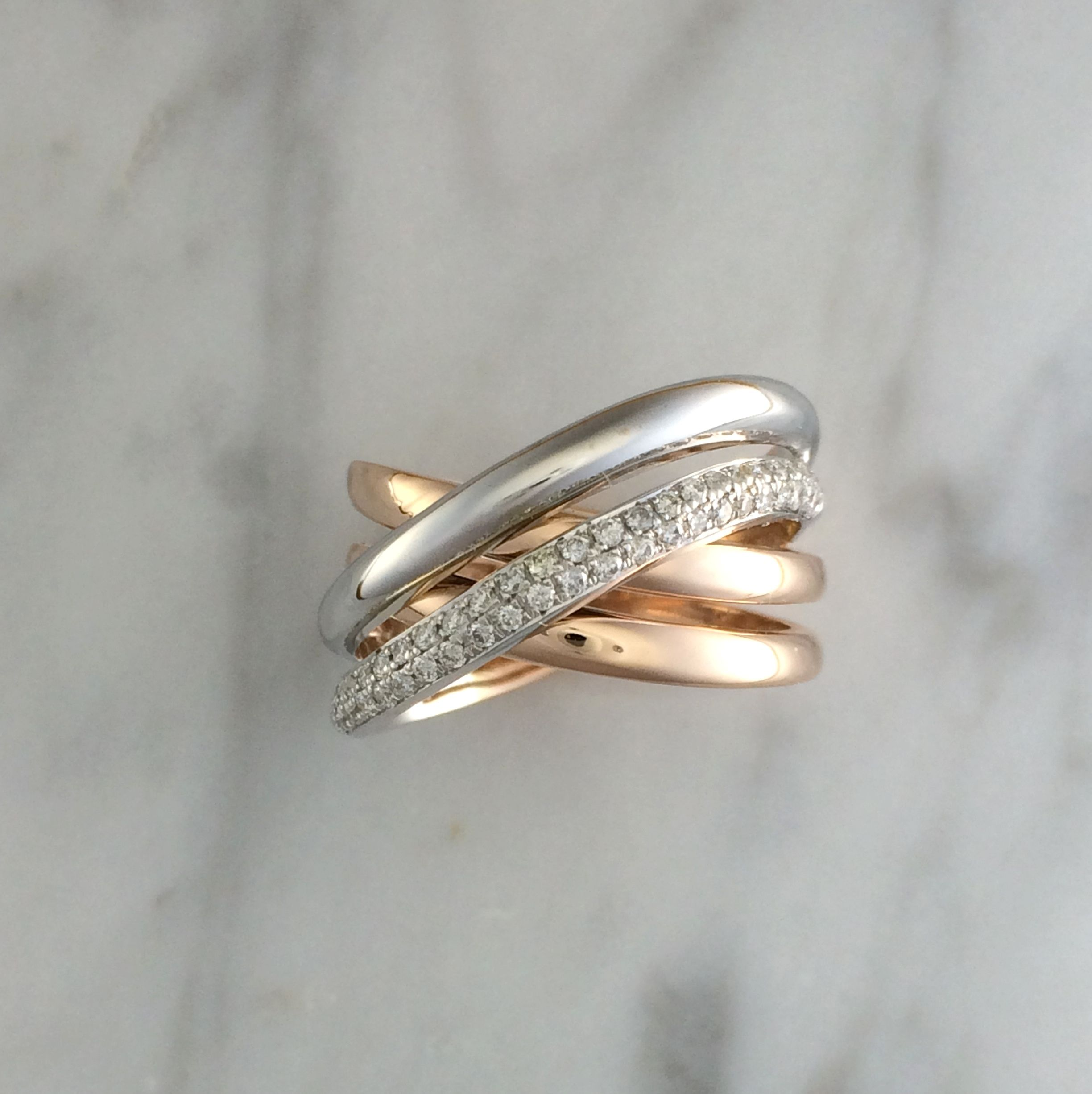 Buy A Custom Made Womens Four Band Diamond Ring 14k