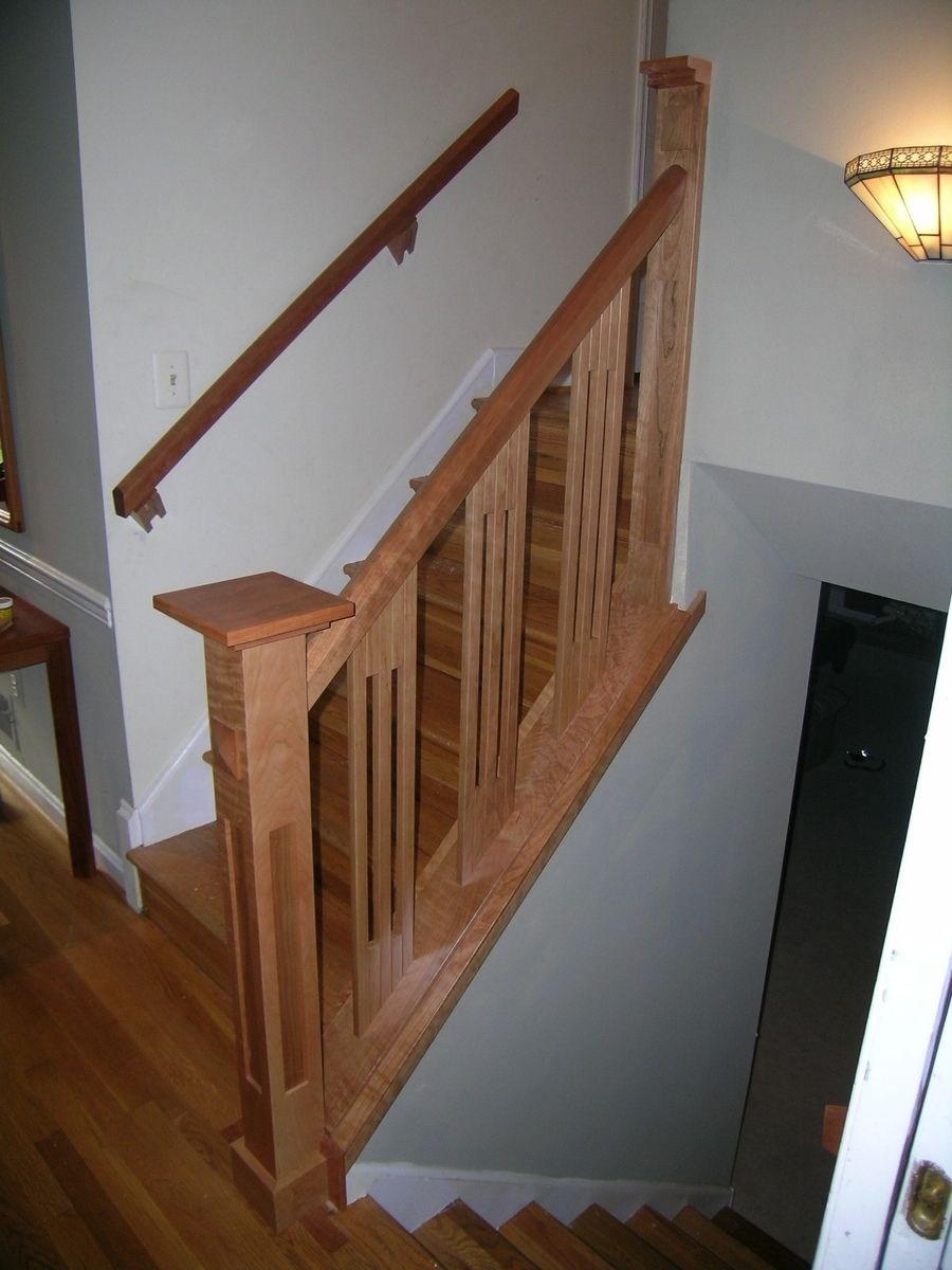 Handmade Stair Railing By Dunbar Woodworking Designs Custommade Com   Custom Wood Stair Railing   Natural Wood   Barn Beam   Metal Spindle   Attic Stair   Rail