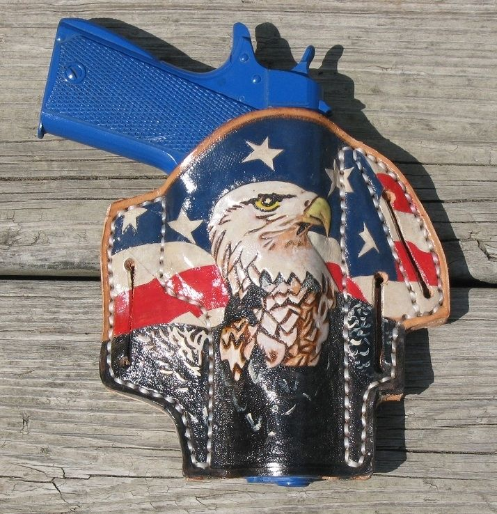 Handmade Custom Tooled And Painted Holster By Red Wolf