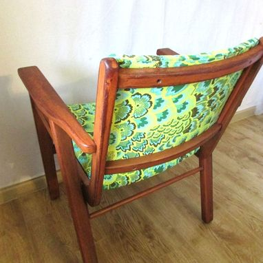 Custom Made Refinished Vintage Teak Chair In Sea Green Peacock Feathers By Rekindle Home