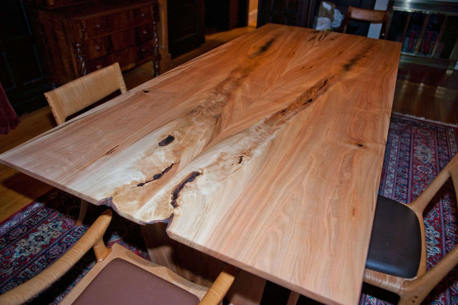 Custom Made Slver Maple Crotch Figure Dining Table By