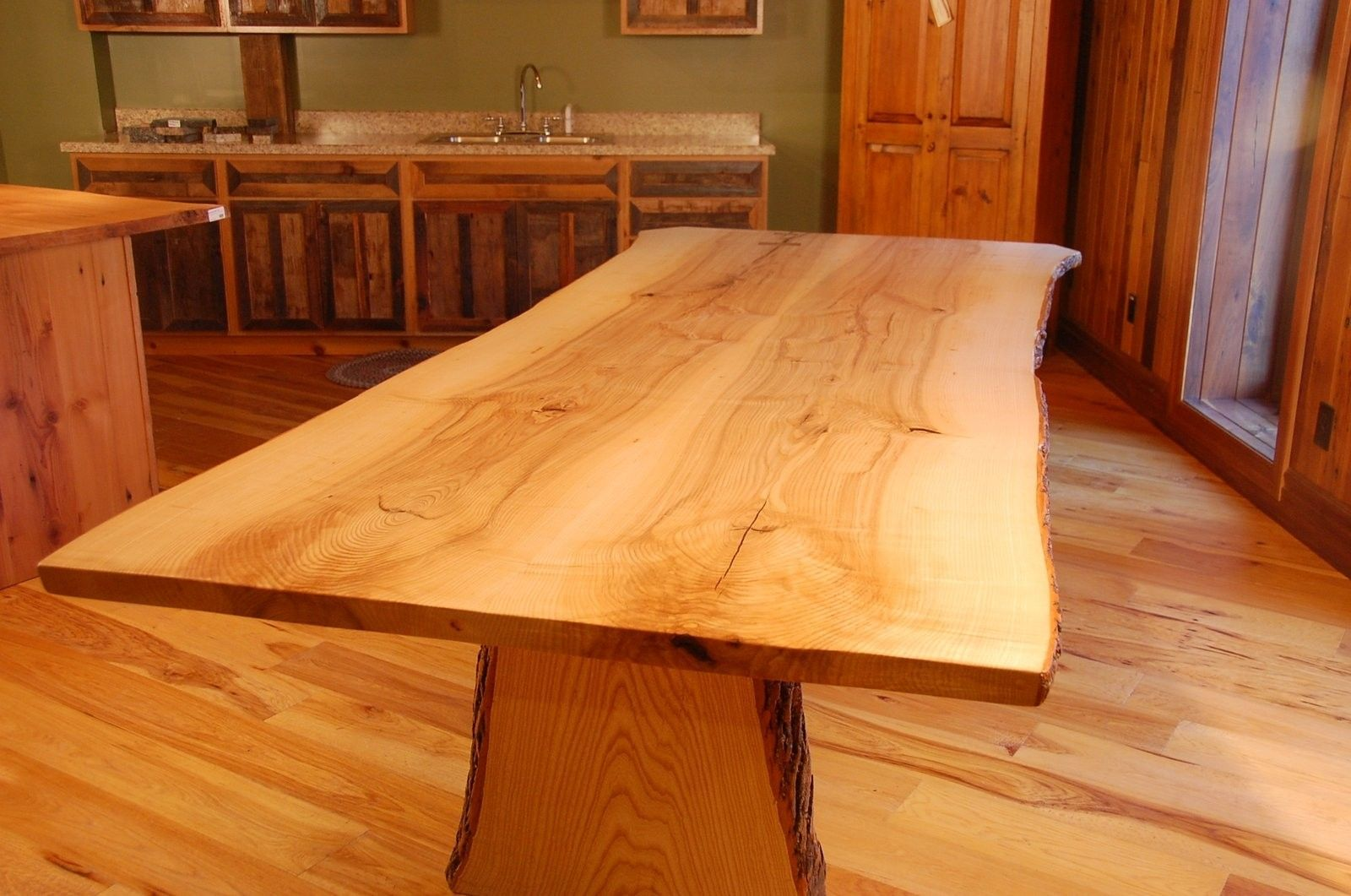 Hand Crafted Live Edge Ash Slab Dining Table By Corey