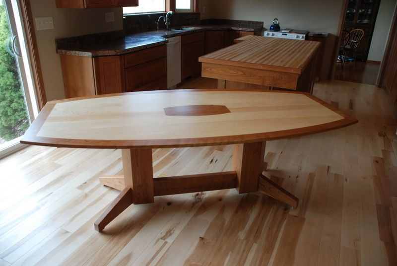 Hand Crafted Maple And Cherry Dining Table By Daniel