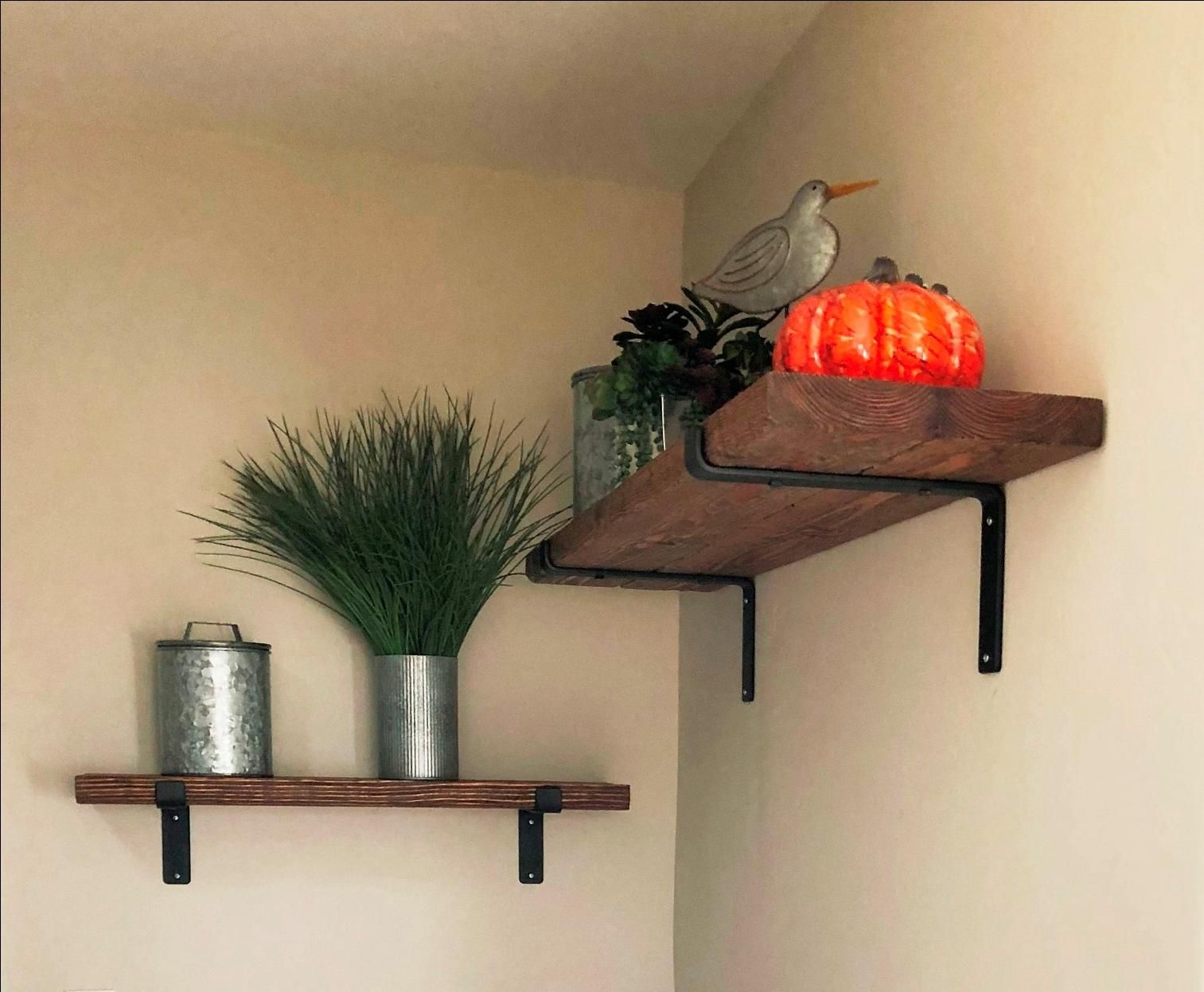 Buy Custom Made Rustic Farmhouse Shelf With Iron Brackets