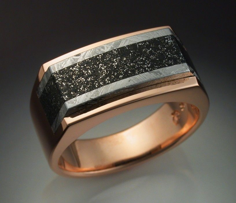 Hand Crafted 14k Rose Gold Mans Ring With Iron And
