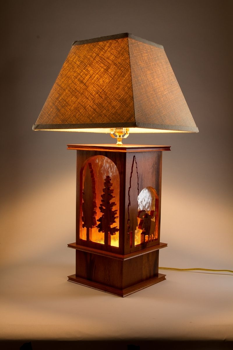 Hand Made Moose Lamp Tigerwood Carved 3 Way Table Lamp By Concepts N Creations